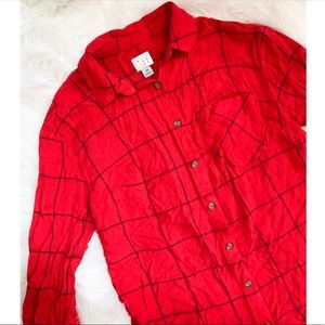 Red Windowpane Button Up Top